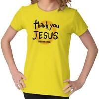 Thank You Jesus Halo Shirt Religion Christianity Gift Fitted Ladies T-Shirt Tee