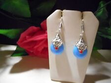 Silver earrings drop dangle with blue real Chalcedony and coral syones