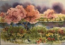 7x10 Pamela Wilhelm Original Watercolor Delta Blooms And Birds