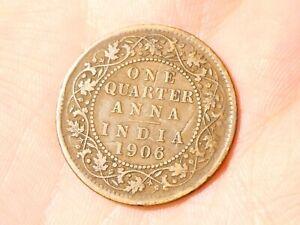 1906 Edward VII India 1/4 One Quarter Anna Coin #TS36