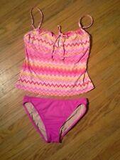 Liz Claiborne Women's Pink Zig Zag Print Tankini Set W/Key Hole Opening-Size M