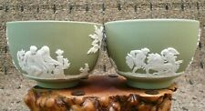 "Wedgwood Green jasperware tea bowls Sake Cups, 3"" dia. tow different patterns"