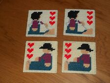 New listing Amish Boy And Girl Coasters Set 2 Each With Felt Backing (New)