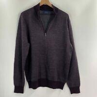 Toscano Mens Burgundy Texture 1/4 Zip Wool Blend Long Sleeve Sweater Size XL