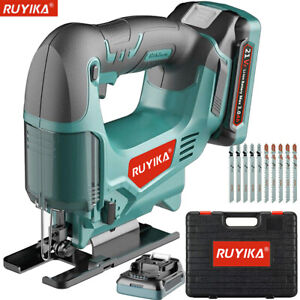 21V Cordless Electric Jigsaw Cutter Tool 3.0A Battery Charger Wood Metal Blades