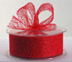 38mm Mesh Ribbon - Red - 1/5/10/20 metre/roll wedding / craft / invitation