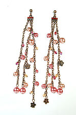 ELEGANT STUNNING BRONZE RED MULTI STONE LAYERED EARRINGS BRAND NEW (A26)