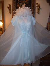 Vintage Chiffon Claire Sandra by Lucie Ann Beverly Hills Pom Pom's Robe Peignoir