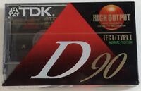 TDK D90 / 90 MINUTE BLANK RECORDABLE CASSETTE (IECI/TYPE I) NEW / SEALED!