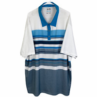 Adidas Climacool Golf Polo Shirt 4XL XXXXL Blue White Gray Short Sleeve Wicking