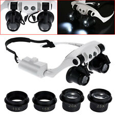 20X 10X 15X 25X LED Magnifier Double Eye Glasses Loupe Lens Jeweler Watch Repair