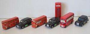 Lot de Véhicules Miniatures Anglais Taxi Londres Bus Rouge à Étage Londonien