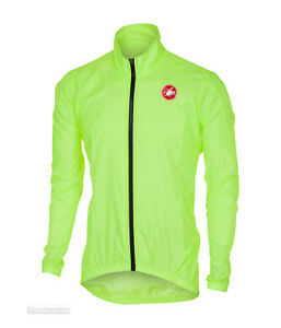 Castelli SQUADRA ER Jacket Lightweight Windproof Cycling Rain Shell YELLOW FLUO