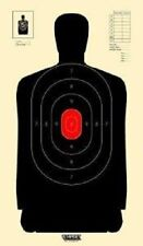 B34 Silhouette Targets - Black With Red Center Targets, Pack of 50
