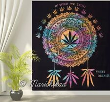 In Weed We Trust Multi Dye Cannabis Wall Hanging Marijuana Dreamcatcher Tapestry