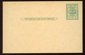 Canal Zone - 1925 - Postal Stationery - 1c Green Postal Card - Scott UX8