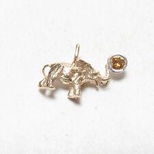 Estate 14K Yellow White Gold 0.16 Ct Yellow Brilliant Diamond Elephant Pendant