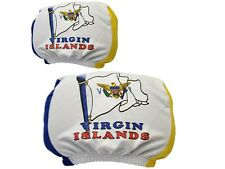 US Virgin Islands Vehicle Headrest  Cover USVI Flag Pairs Car Jewelry