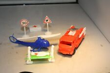 1960s Fire Truck & Helicopter Emergency Set Made in Hong Kong Mint!