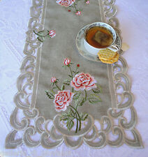 """BELLA ROSA  Lace Doily 70""""  Runner Pink Rose Romantic Victorian"""