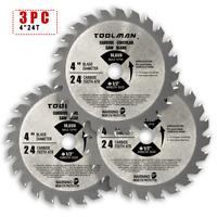 "3pcs 4"" 24T Arbor 1/2""  Circular Saw Blade Carbide Tipped For Metal Wood cutting"