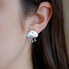 1 Pair Fashion Women Elegant Silver Rain Clouds Drop Dangle Ear Stud Earrings