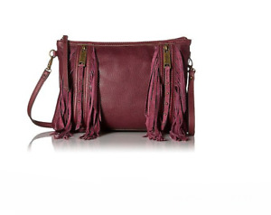 Jessica Simpson Blair Convertible Clutch Cross-body Bag Maroon