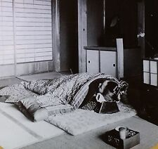 Japanese Bed (Futon) and House Interior, Japan, Magic Lantern Glass Photo Slide