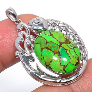 "Green Copper Turquoise & White Topaz 925 Silver Fish Pendant Jewelry 1.56"" S1933"