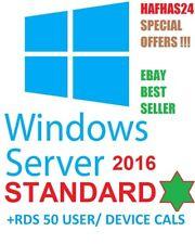 Windows Server 2016 Standard License + RDS 50 User/Device Cals - SALE ✅