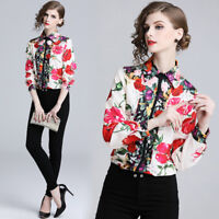 2019 Spring Summer Floral Print Collar OL Casual Long Sleeve Womens Shirt Blouse