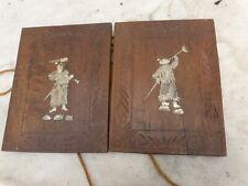Indochine / Vietnam ancienne paire panneaux bois incrustations de nacre c. 1900