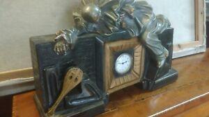 Vecchio Orologio da tavolo In Gesso Anni 30/40