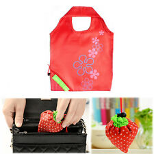 2x Red Reusable Foldable Nylon Strawberry Eco Storage Shopping Tote Bags US SHIP