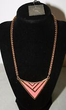 Vince Camuto Gold Tone Enamel Chevron Coral Pink Necklace NWT $48