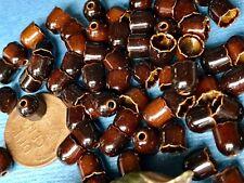 Vintage enameled Bead caps, Enamel Brown Tiny Cone Retro OLD Scalloped #1150C