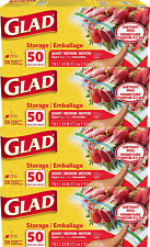 Glad® Zipper Food Storage Plastic Bags - Quart - 50 Count - 4 Pack (Package May