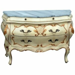 Fine Quality Paint Decorated Faux Marble Top Italian Bombe Dresser Commode Chest