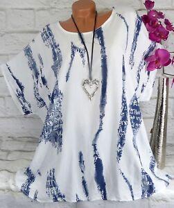 Shirt T-Shirt Tunika Bluse Italy Top Oversize Baumwolle Gerade Weiß 48 50 52