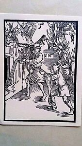 Hans Holbein original the praise of folly woodblock 1850 pleading for water