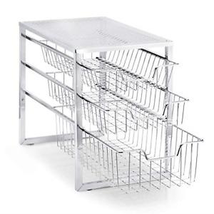 Simple Trending 3-Tier Under Sink Cabinet Organizer with Sliding Storage Drawer,