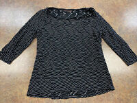 Dana Buchman Womens Black & White Striped Casual 3/4 Sleeve Top Size S