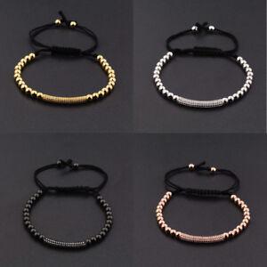 Men's Women Gold Plated 4mm Micro Pave Zircon Beads Braiding Macrame Bracelets