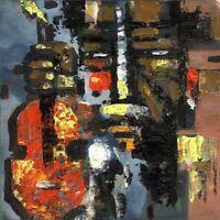 """Russischer Realist Expressionist Öl Leinwand """"Gitarrist"""" 30x29 cm"""