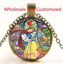 Vintage Snow White Cabochon bronze Glass Chain Pendant Necklace TS-4743