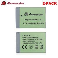 2PACK NB-13L NB13L 1600mAh Li-ion Battery for Canon G1 X Mark III G5 X G7 X G9 X