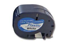 SCHRIFTBAND KASSETTE 12mm SCHWARZ-WEIß PLASTIC für DYMO LetraTag Plus LT-100H