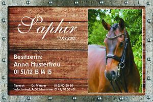 Stalltafel Boxenschild Stallschild personalisiert Foto individuel Geschenk Pferd