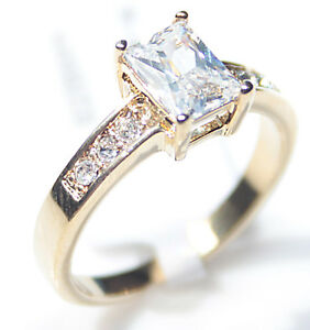 Ah! Jewellery® 1.80ct Emerald Cut Simulated Diamond Gold Electroplated Ring