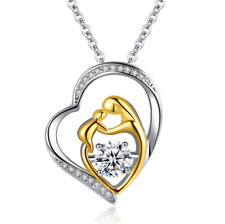Mother and Child Necklace Mom Daughter Son Infinity Heart Love Pendant CZ Box S2